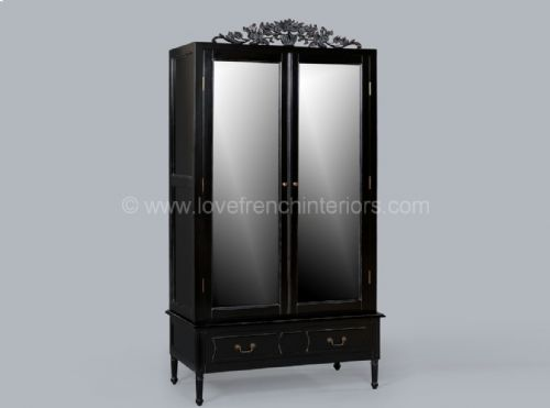 Mirrored Armoire in Noir Black